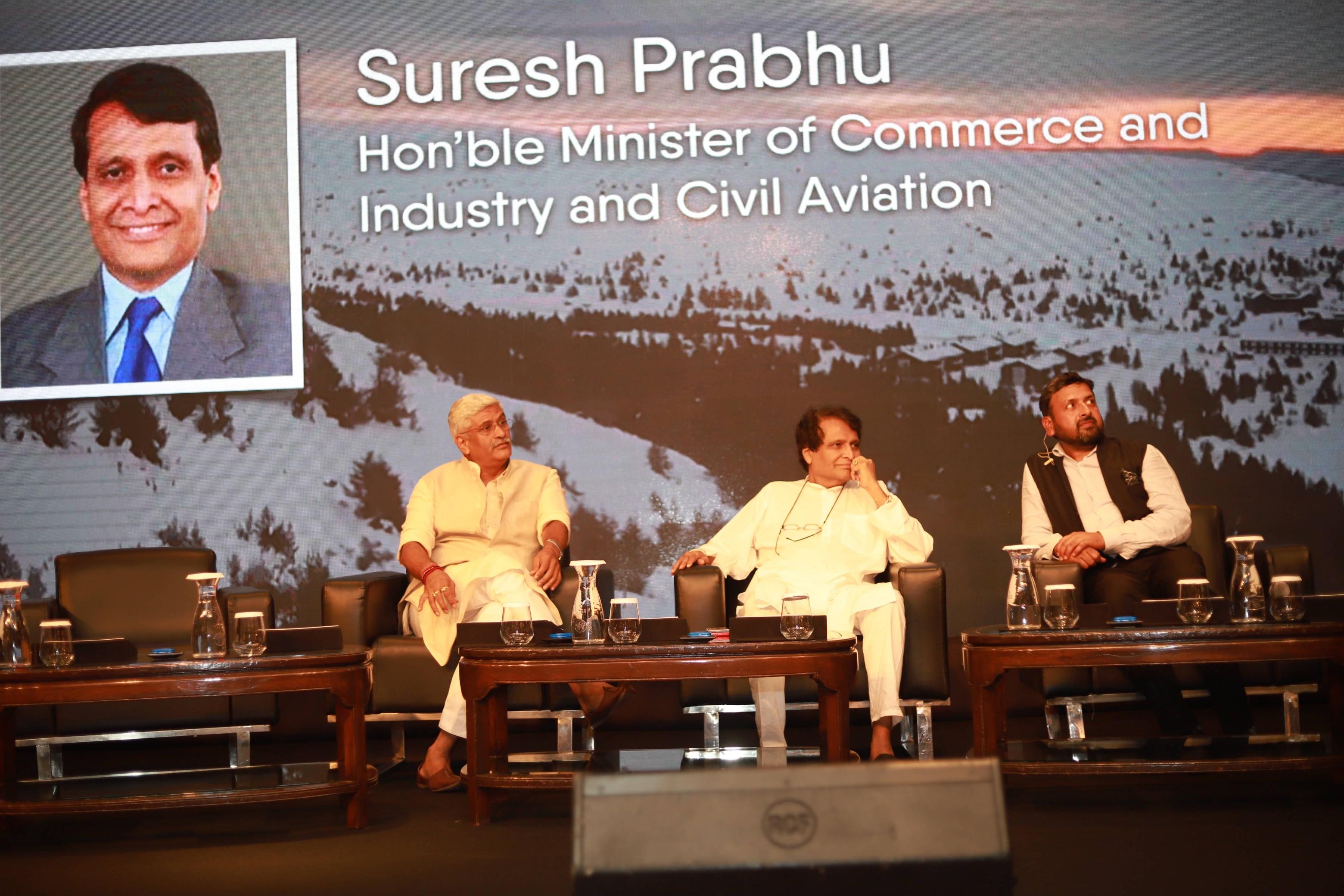 Shailesh Vickram Singh with Gajendra Singh Shekhawat and Suresh Prabhu at Massive Earth Summit.